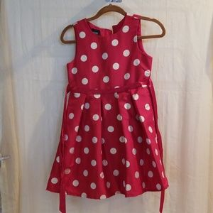 Cute red dress with gold polka dots and red tie